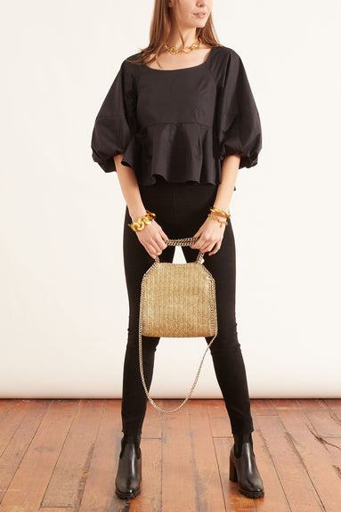 Eco Poplin Peplum Top in Black