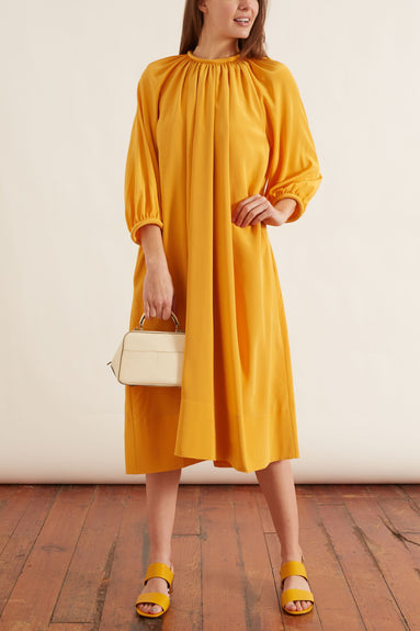 Eco Silk Shirred Neck Pitched Dress in Orange