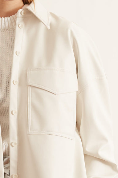 Faux Leather Relaxed Utility Blouse in White