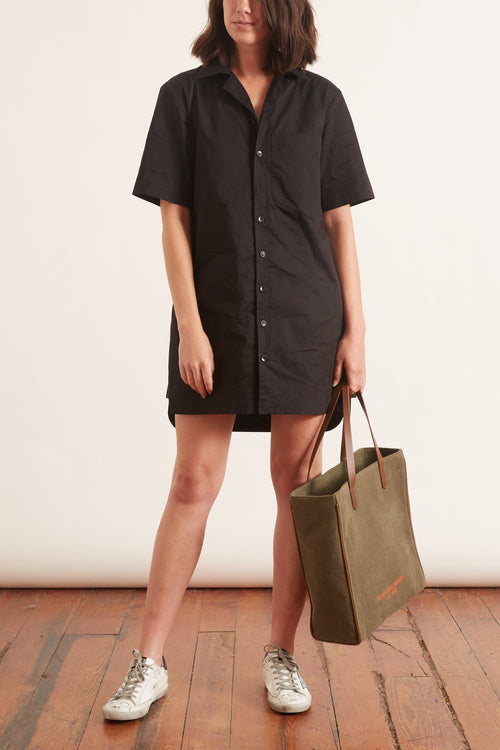 Featherweight Twill Camp Dress in Black