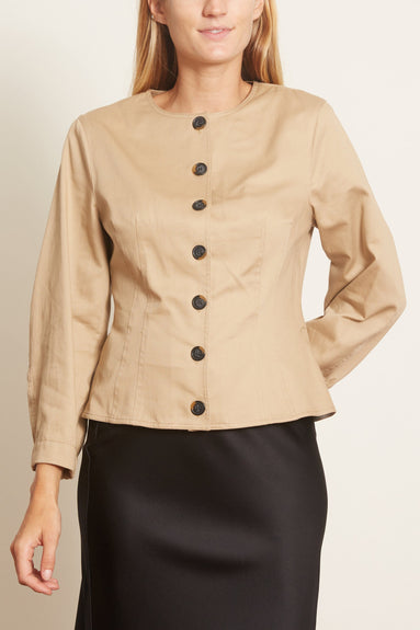 Harrison Chino Corset Top with Sculpted Sleeve in Tan