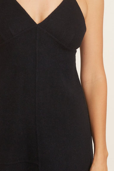 Luxe Double Faced Wool Angora Cami Dress in Navy