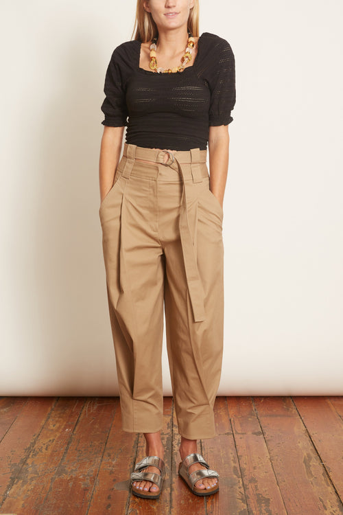 Myriam Twill Double Waisted Pant in Khaki