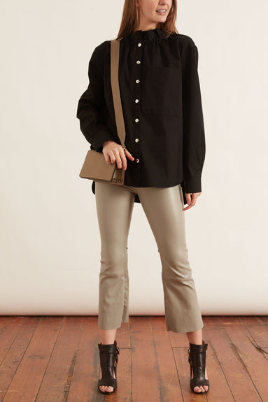 Organic Cotton Twill Ruffle Shirt Jacket in Black
