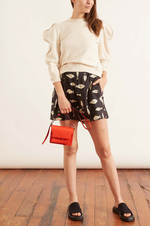 Poisson Print Pull On Shorts in Grey Multi