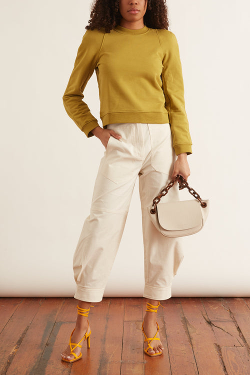 Sculpted Shoulder Sweatshirt in Tan Ochre