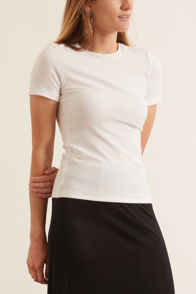Seamless Mini Sweater Baby Tee in Ivory