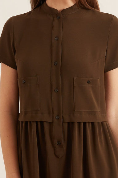 Short Sleeve Henley Dress in Military