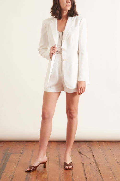 Soft Spring Suiting Cutout Blazer in White