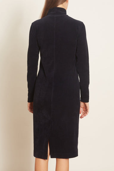 Stretch Corduroy Slim T-Neck Dress in Navy