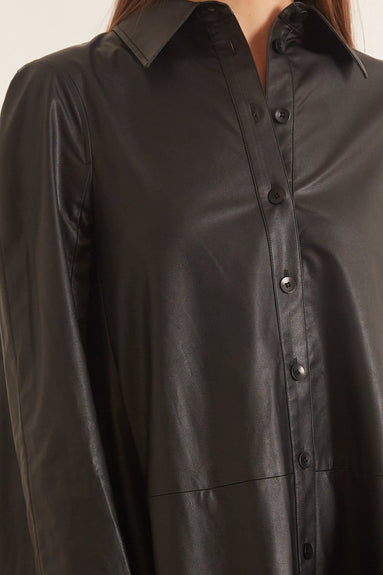 Tissue Faux Leather Shirt Dress in Black