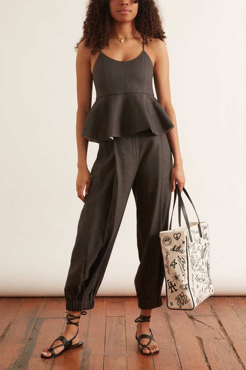 Wesson Linen Double Waisted Sculpted Pant in Storm Grey