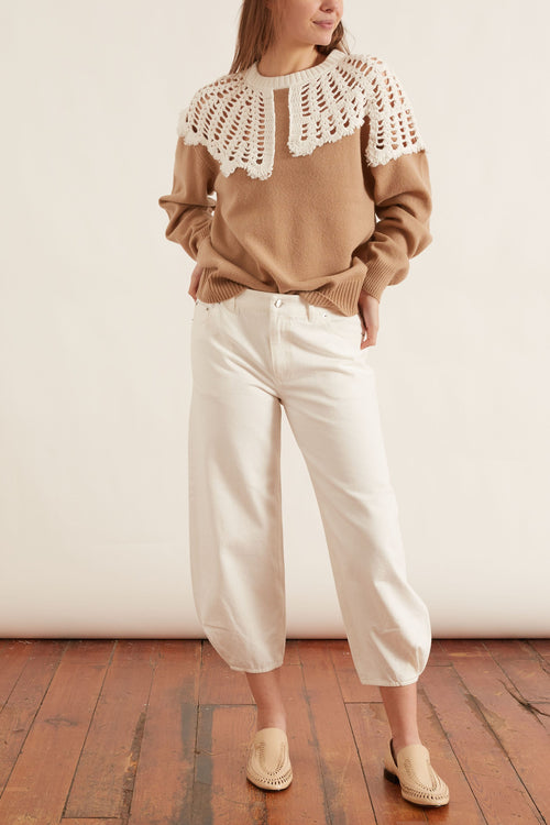 White Denim Sculpted Pant in White