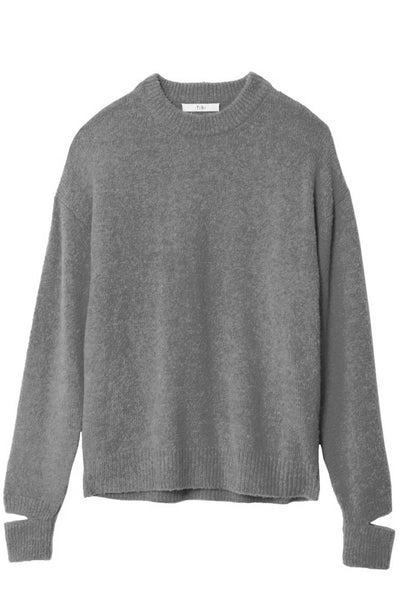 Airy Alpaca Crewneck Pullover in Heather Grey
