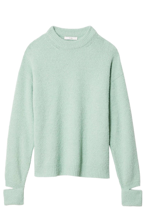 Airy Alpaca Crewneck Pullover with Arm Band in Celadon