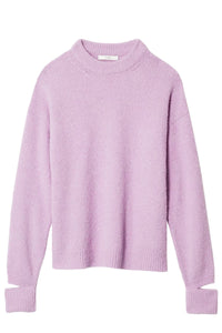 Airy Alpaca Crewneck Pullover with Arm Band in Mulberry