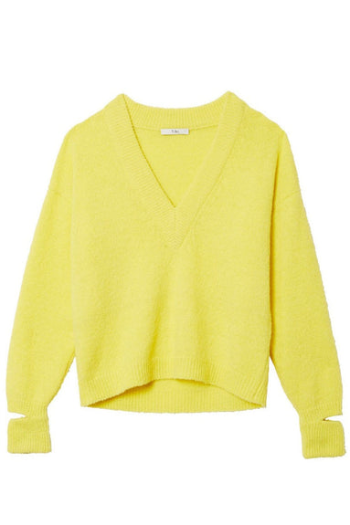 Airy Alpaca V-Neck Pullover in Acid Yellow