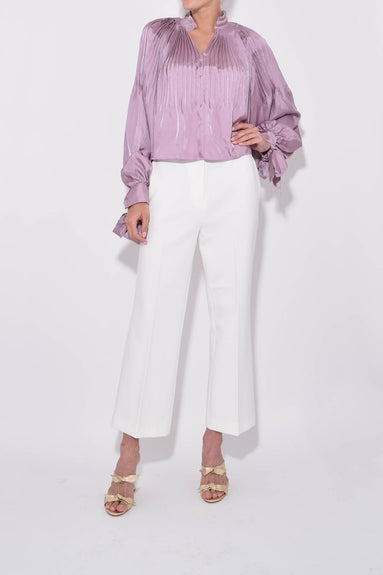 Anson Stretch Cropped Bootcut Pant in Ivory