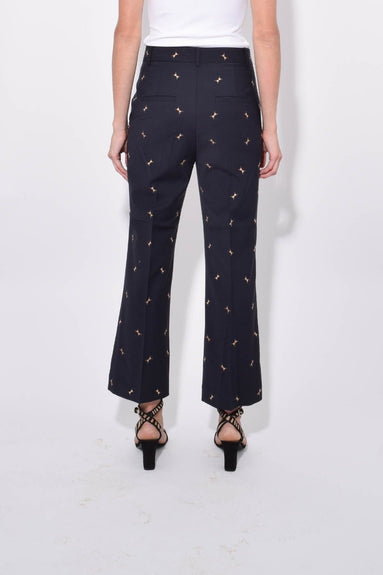 Ant Embroidery Cropped Bootcut Pant in Dark Navy/Caramel
