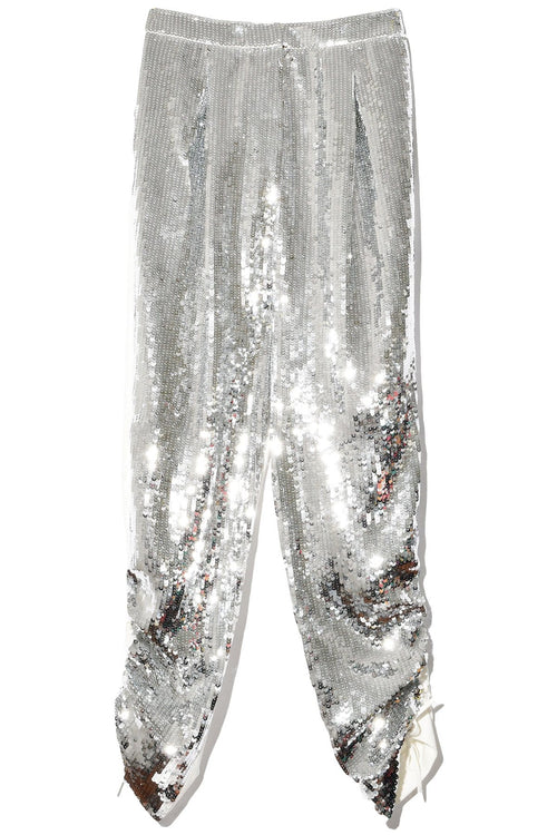 Avril Sequins Pant in Ivory/Silver Multi