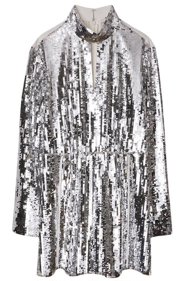 Avril Sequins Split Neck Short Dress in Ivory/Silver Multi