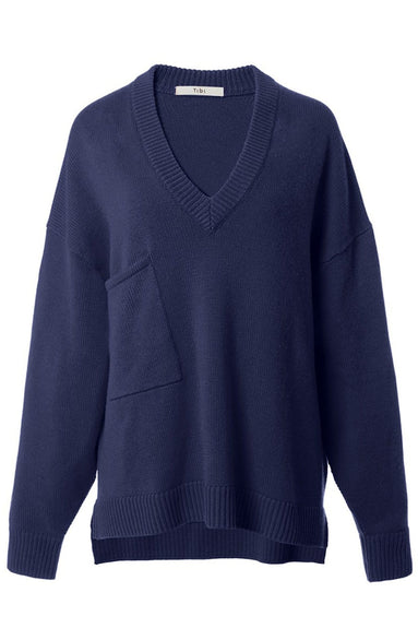 Cashmere Deep V-Neck Oversized Pullover in Navy