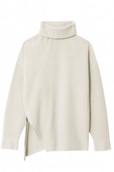 Cashmere Ribbed Turtleneck Pullover in Ivory TS