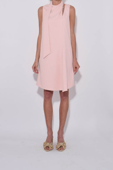 Chalky Drape Pleat Neck Shift Dress in Blush