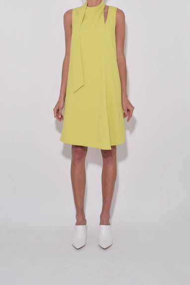 Chalky Drape Pleat Neck Shift Dress in Xanthe Yellow