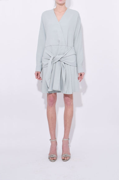 Chalky Drape Short Wrap Dress in Ash Green