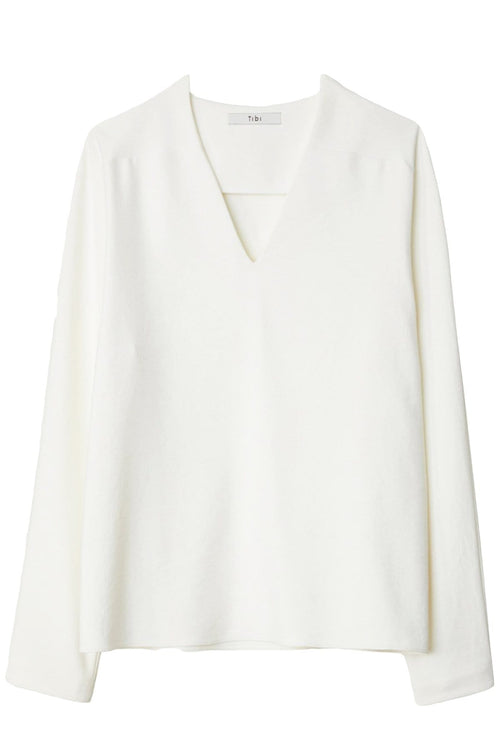Chalky Drape V-Neck Raglan Top in Ivory