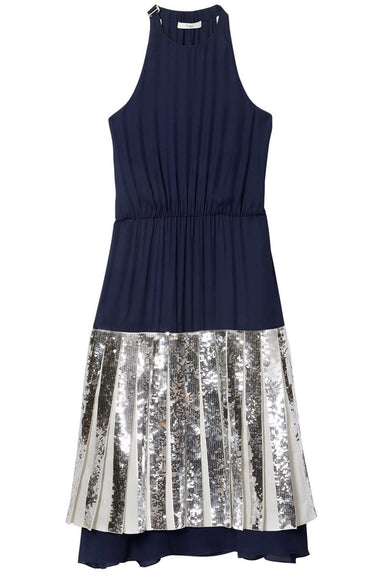 Claude Sequins Layered Halter Dress in Navy Multi