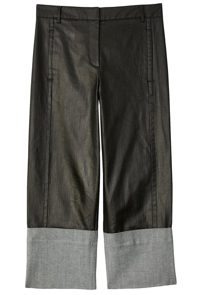 Coated Denim Cuffed Nerd Pant in Black
