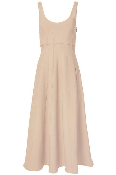 Corset Crepe Structured Dress in Sand Blush