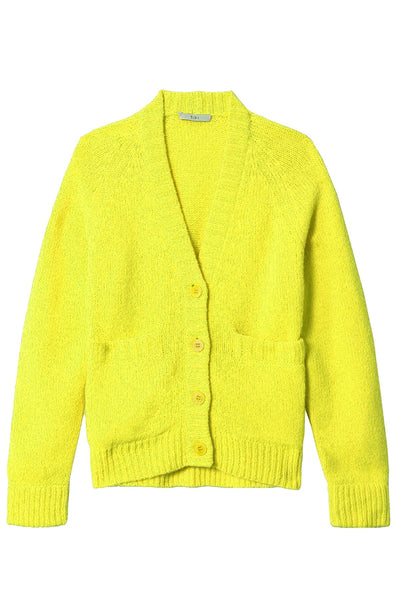 Cozette Alpaca Raglan Cardigan in Lemon Yellow