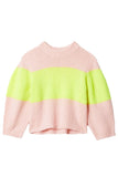 Cozette Stripe Alpaca Cropped Pullover in Pale Blush/Lemon Yellow