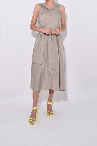 Cupro Anorak Sleeveless Dress in Cool Taupe