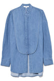 Denim Tuxedo Shirt with Bib Flap in Denim