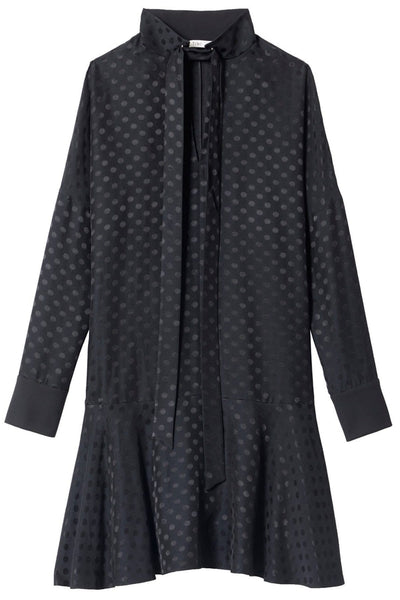 Dot Jacquard Dolman Dress in Black