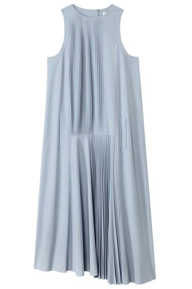 Edith Pleating Sleeveless Dress in Pebble Grey