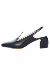 Evon Baby Calf Slingback Pump in Black