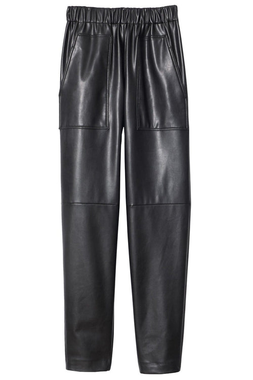 Faux Leather Pull On Pant in Black