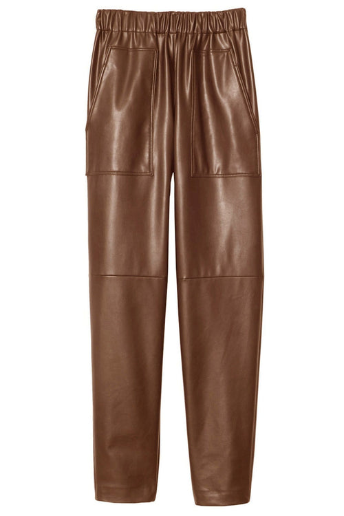 Faux Leather Pull On Pant in Brown