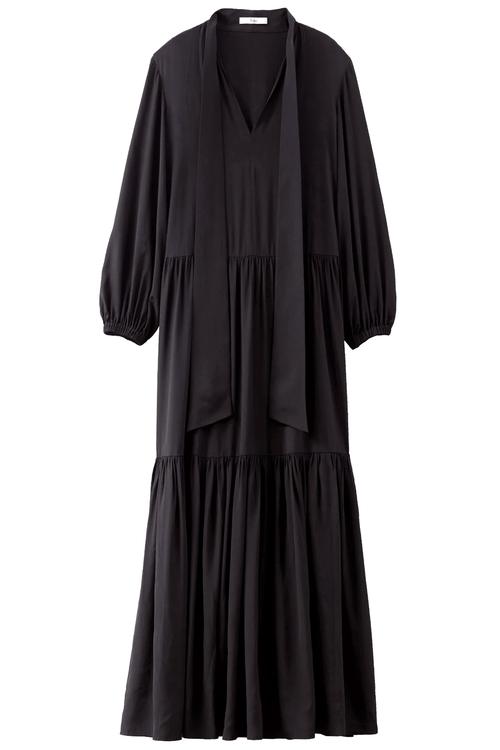 Heavy Silk Tie Neck Ruffle Dress in Black