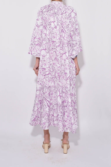 Isa Toile Edwardian Dress in White/Purple