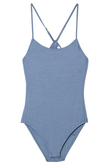 Lightweight Wool Jersey Cami Bodysuit in Denim Blue