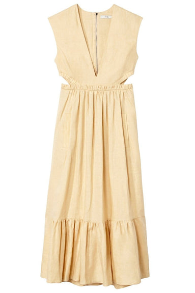 Linen Canvas V-Neck Cut Out Dress in Biscotti