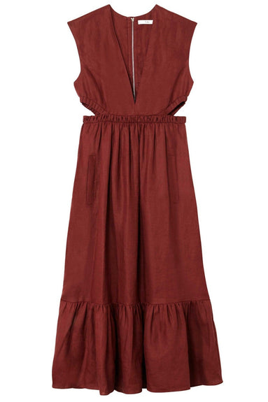 Linen Canvas V-Neck Cut Out Dress in Burgundy