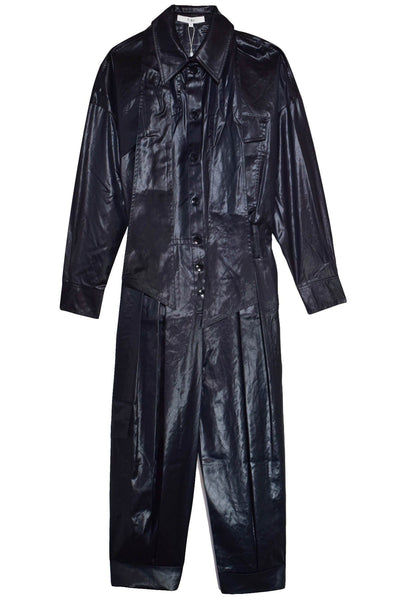 Liquid Drape Utility Jumpsuit in Dark Navy