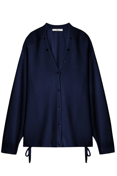 Luxe Merino Wool Silk Back Cardigan in Navy
